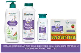 Himalaya Baby Combo Pack (Buy 3 Get 1 Baby Soap Free, 1 Baby Wash, 1 Bbay Powder and 1 Baby Shampoo) (Pack of 6)