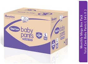 Himalaya Baby Total Pants Monthly Mega Box Pack ( Size L;54 Count in each pack) - Pack of 3