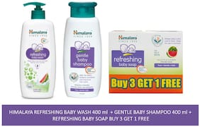 Himalaya Baby Combo Pack (Buy 3 Get 1 Baby Soap Free, 1 Baby Shampoo, and 1 Baby Wash) (Pack of 5)