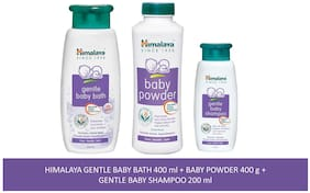 Himalaya Baby Combo Pack (1 Baby Powder, 1 Baby Shampoo and 1 Baby Bath) Pack of 3