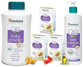Himalaya Baby Combo - Massage Oil -500ml And Powder -700g And Refreshing Soaps -125g X 3 (Pack of 5)