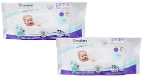 Himalaya Gentle Baby Wipes 72 (Pack of 2) (144 Wipes)