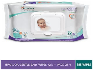 Himalaya Gentle Baby Wipes 72 (Pack of 4) (288 Wipes)