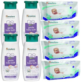 Himalaya Gentle Baby Bath 400ml(pack of 4)Gentle Baby wipes72pcs 300g(Pack of 4)