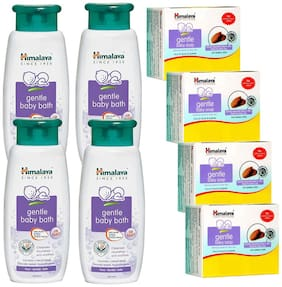 Himalaya Gentle Baby Bath 400ml(Pack of 4)Gentle Baby Soap (pack of 4)