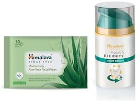 Himalaya Moisturizing Aloe Vera Facial Wipes 10's and  Youth Eternity Night Cream 50ml (Pack of 2)