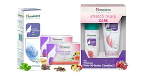 Himalaya Mom Care Combo 2 - Stretch Mark Cream And Oil - (100 ml) Toning Massage Oil (200 ml) And Rich Rose Soaps (2x125 g)