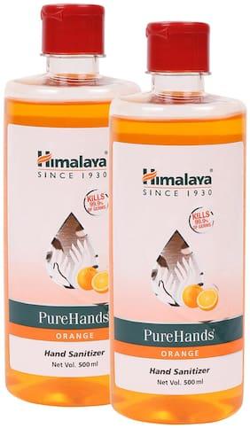 Himalaya 1L Orange Pure Hands Sanitizer with Alcohol - Set of 2 Bottles, 500ml each