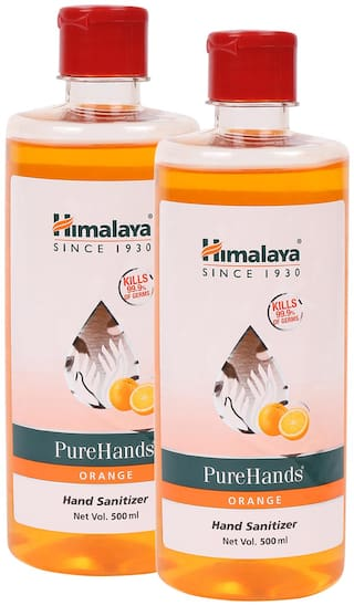 Himalaya 1L Orange Pure Hands Sanitizer with Alcohol - Set of 2 Bottles, 500ml each