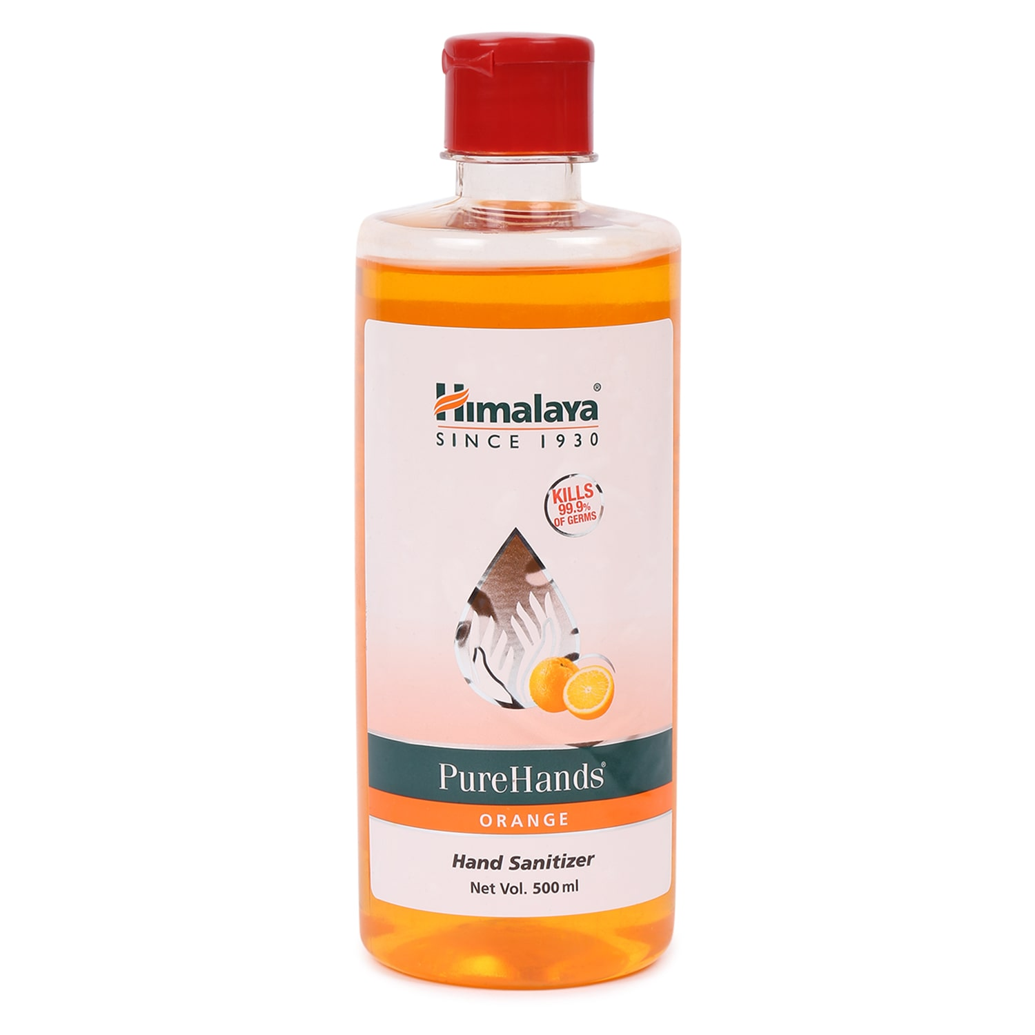 Himalaya Pure Hands Sanitizer with alcohol (Orange) 500 ml ( Pack of 1 )