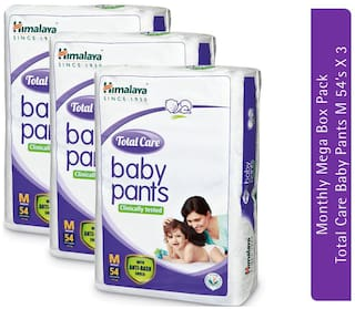 Himalaya Total Care Baby Pants Diapers Monthly Mega Box Medium 54 Diapers Each ( Pack of 3 )
