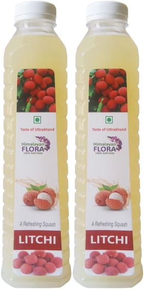 Himalayan Flora Pure Natural Uttarakhand Litchi Squash Twins Pack( 1L Each)