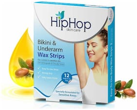 HipHop Skincare Bikini & Underarm Wax Strips with Argan Oil - 12 strips (Pack of 2)
