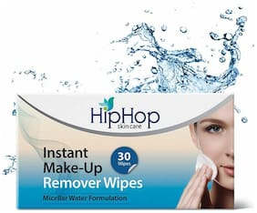 HipHop Skincare Instant MakeUp Remover Wipes - Micellar Water  30 wipes (Pack of 2)