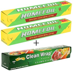 Homefoil Set of 2 Food Wrap Aluminium Foil (9 m) with Clean Wrap Cling Film (30 m)