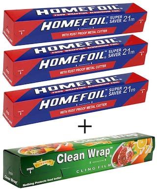 Homefoil Set of 3 Food Wrap Aluminium Foil (21 m) with Clean Wrap Cling Film (30 m)