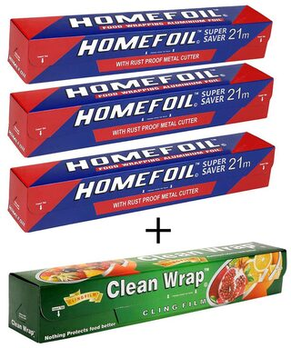 Homefoil Set of 3 Food Wrap Aluminium Foil (21 m) with Clean Wrap Cling Film (30 m)