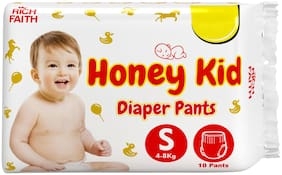 Honey Kid Baby Diaper for Newborn Baby;Long Lasting;Fluid Channel Distribution;Absorbent & Cottony Comfort Small Size Diaper ( for 4-8 kg);Pack 1 (10 Pants) - Upto 12 Hours Protection