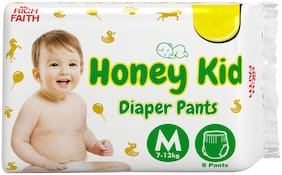 Honey Kid Baby Diaper for Newborn Baby;Long Lasting;Fluid Channel Distribution;Absorbent & Cottony Comfort Medium Size Diaper ( for 7-12 kg);Pack 1 (9 Pants) - Upto 12 Hours Protection