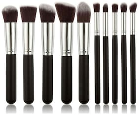 House of Quirk Premium Synthetic Makeup Brush Set - Black Silver(10pcs)