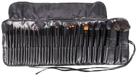 HUDA Professional Makeup Multipurpose Synthetic Fibre Brush Set of 32 pcs for Makeup and Cosmetics with Black Pouch Case