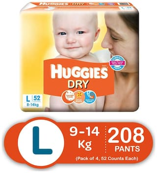Huggies New Dry Large Size Diapers (Pack Of 4, 52 Per Pack)