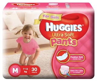 Huggies Ultra Soft Pants Medium Size Diapers (For Girls) 30 Counts