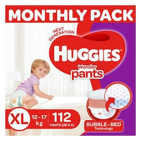 Huggies Wonder Pants Extra Large Size Diapers - Monthly Pack, 112 Diapers