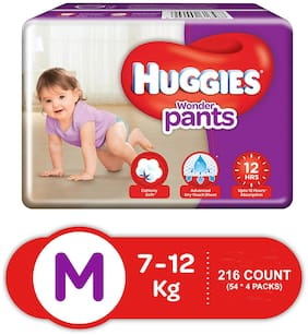 Huggies Wonder Pants Medium Size Diapers (Pack Of 4, 54 Counts Per Pack)