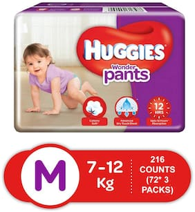Huggies Wonder Pants Medium Size Diapers  Pack of 3  72 Counts Per Pack (216 Counts)