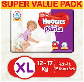 Huggies Wonder Pants Extra Large (Xl) Size Diapers (Pack Of 4, 28 Counts Per Pack)