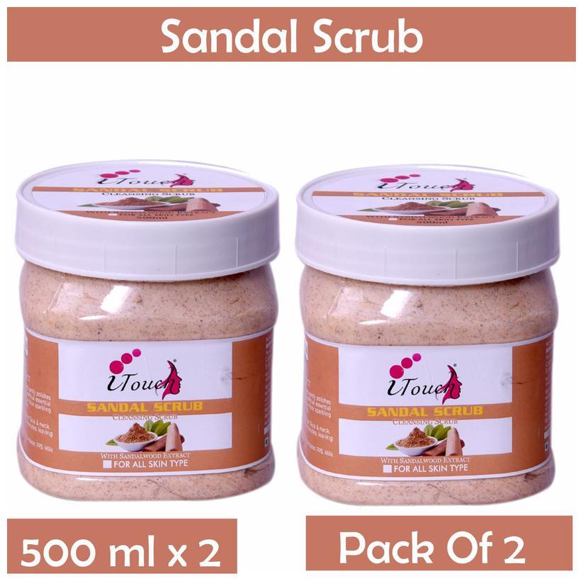 I Touch Herbal Sandal Face Scrub 500 ml (Pack of 2)