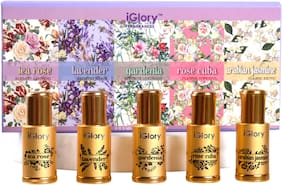 iGlory Floral Non Alcoholic Perfume with Steel Ball Roll on for Women (Arabian Jasmine, Gardenia, Rose Cuba, Tea Rose, Lavender) 3 ml each (Pack of 5)
