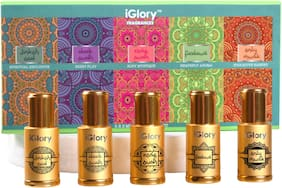 iGlory Non-Alcoholic Oudh and Arabic Attar/Ittar Roll-on Fragrances Set for Men and Women (Jinkoh Ood, Dark Oudh, Rose Oudh, Firdaus, and Only Musk) 3 ml each (Pack of 5)