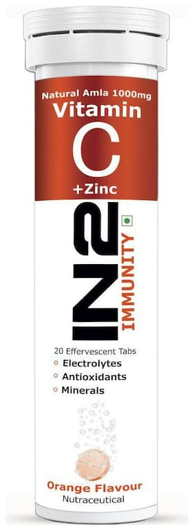 IN2 Natural Vitamin C + Zinc Orange Flavour 20 Tablets
