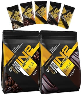 IN2 Whey Protein 500 gm (Rich Chocolate) + IN2 Whey Protein 500 gm (Cafe Mocha) + Free 5 Sachets