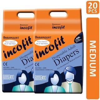 Paramount Incofit Premium Adult Diapers Medium, Pack of 20, 71cm-101cm (28-40)