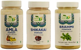 Indian Herbal Valley Natural and Pure Amla, Brahmi and Shikakai Powder 100g Each