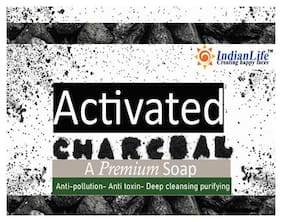 Indian Life Activated Charcoal Alovera Soap Bar Natural Detox Face Soap & Body Soap for Acne/Blackheads/Sensitive Skin 100 g