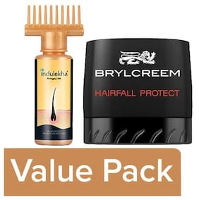 Indulekha Bhringa Hair Oil 100ml + Brylcreem Hair Styling Cream 75g