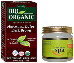 Indus Valley 100% Herbal Dark Brown Henna Hair Colour With Light Hair Ultima Spa Cream Combo (Pack of 2)