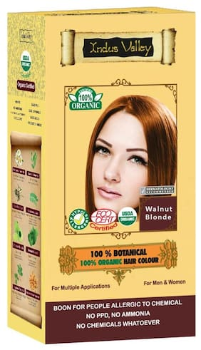 Indus Valley 100% Certified Organic Botanical Walnut Blonde Hair Color (For Refresh Look)