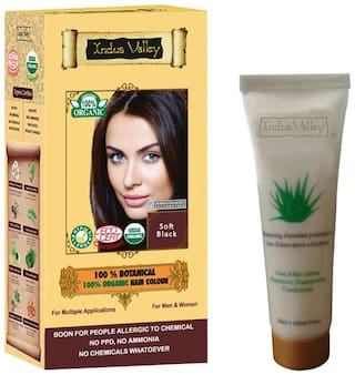 Indus Valley 100% Botanical Hair Colour Soft Black With 50 ml Shampoo Free