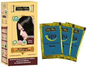 Indus Valley 100% Organic Indus Black Hair Colour With 3 Free Deep Nourish Hair Eaze Spa Sachet (Pack of 4)