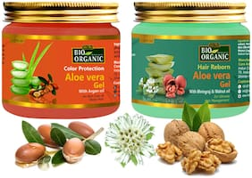 Indus Valley Bio Organic Color Protection Aloe Vera Gel & Hair Reborn Aloe Vera Gel  Combo Pack 175 ml Each (Pack of 2)