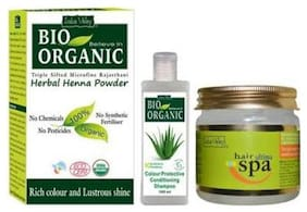 Indus Valley Pure Herbal Henna Powder And Bio Cp Shampoo With Natural Ultima Spa For Hair (Set of 3)