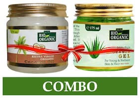 Indus Valley Bio Organic Extra Virgin Coconut Oil With 100% Pure Aloe Vera Gel Combo Pack-175gm( Each)