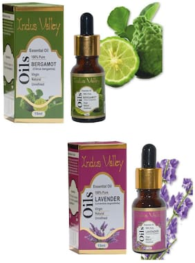 Indus Valley Bergamot And Lavender Essential Oil For Age Marks Acne Scars & Pimples - Set of 2