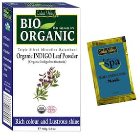 Indus Valley Pure Organic Indigo Henna Powder With Free Hair Eaze Spa Sachet (Combo Pack)