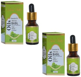 Indus Valley Natural Basil Essential Oil - 30 ml (For Pimple & Acne Remover) Body Face& Hair Care Set of 2
